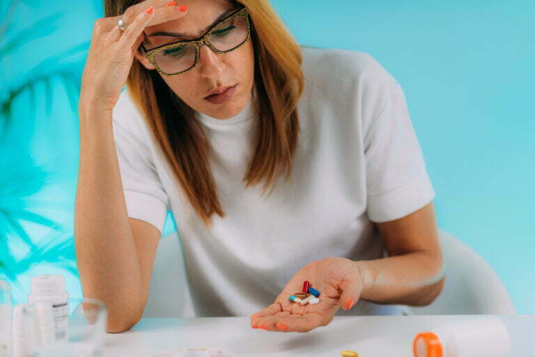 Woman trying to adhere with medications