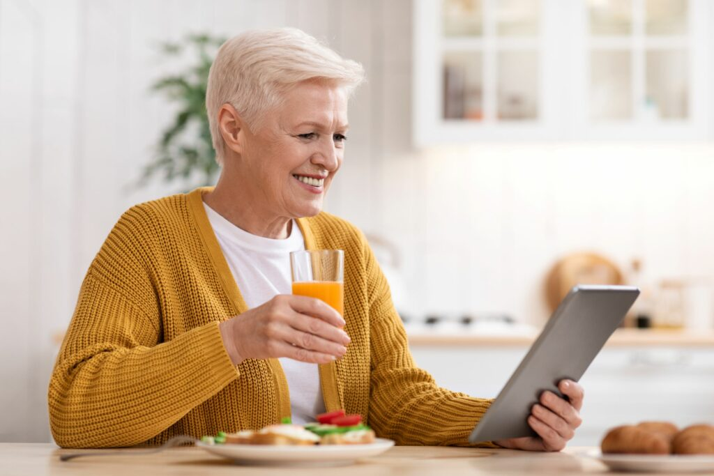 Woman with diabetes eating healthy food